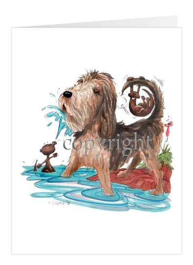 Otterhound - Otter Squirting Water - Caricature - Card