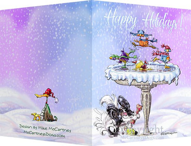 Papillon - Frozen Bird Bath - Christmas Card