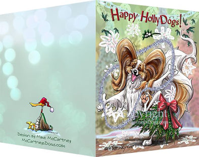 Papillon - Happy Holly Dog Pine Skirt - Christmas Card