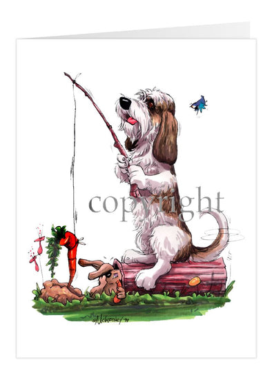 Petit Basset Griffon Vendeen - With Carrot Teasing Rabbit - Caricature - Card