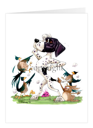 Pointer - Pheasants Pointing - Caricature - Card