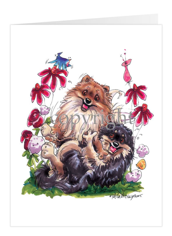 Pomeranian - Group Playing - Caricature - Card