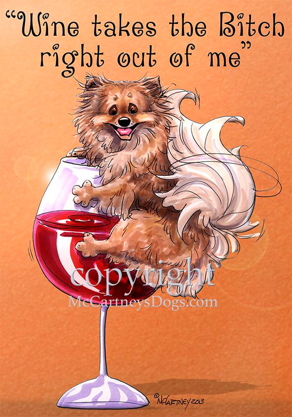 Pomeranian - Wine Takes The Bitch - Cutting Board