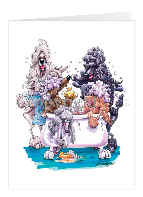 Poodle - Group Bathtub - Caricature - Card