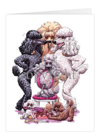Poodle - Group Standing Around Chair - Caricature - Card