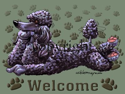 Poodle Black - Welcome - Mat