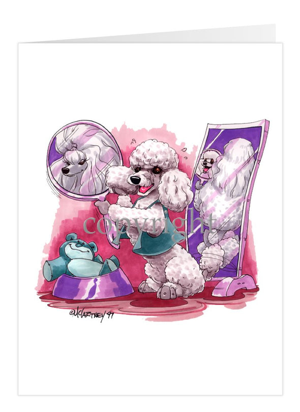 Poodle Toy White - Mirror - Caricature - Card