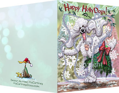 Poodle - White - Happy Holly Dog Pine Skirt - Christmas Card