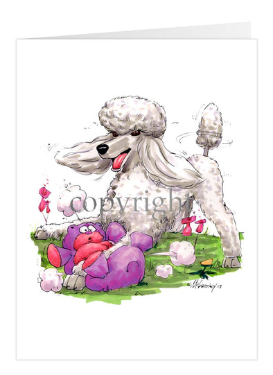 Poodle White - With Stuffed Bear - Caricature - Card