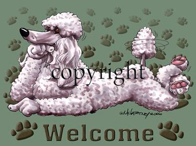 Poodle White - Welcome - Mat