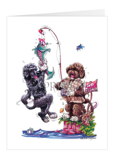 Portuguese Water Dog - Group Fishing - Caricature - Card