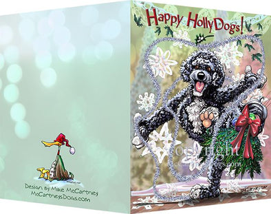 Portuguese Water Dog - Happy Holly Dog Pine Skirt - Christmas Card