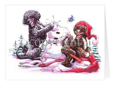 Portuguese Water Dog - Snowman - Christmas Card