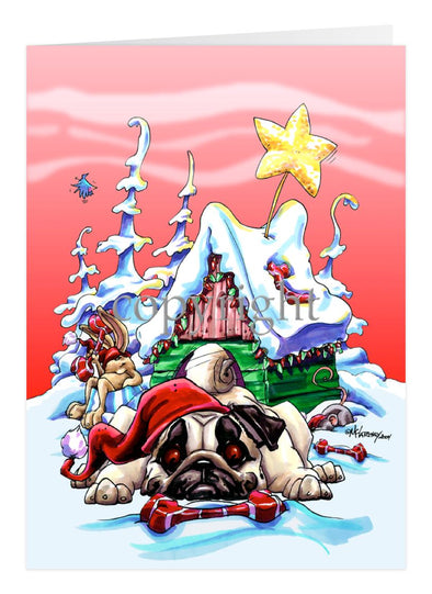 Pug - Doghouse - Christmas Card