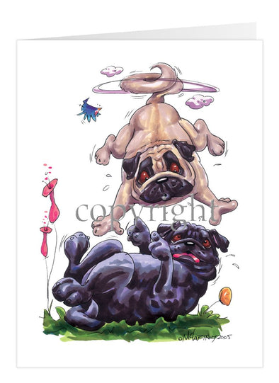 Pug - Group Fawn Black Playing - Caricature - Card
