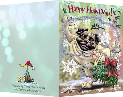 Pug - Happy Holly Dog Pine Skirt - Christmas Card