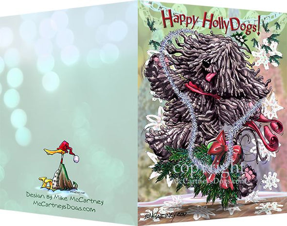 Puli - Happy Holly Dog Pine Skirt - Christmas Card