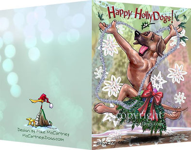 Rhodesian Ridgeback - Happy Holly Dog Pine Skirt - Christmas Card