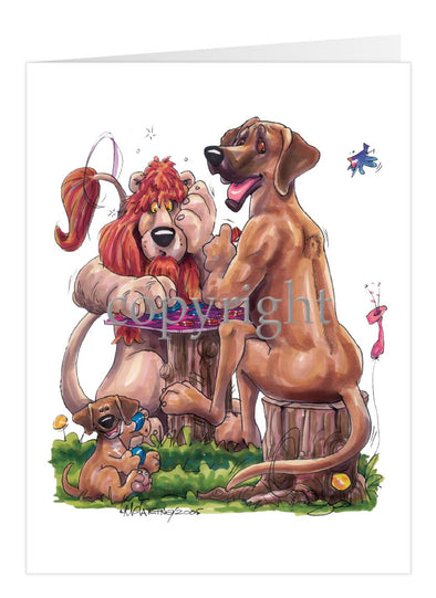 Rhodesian Ridgeback - Lion Checkers - Caricature - Card