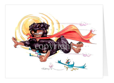 Rottweiler - Flying With Cape - Caricature - Card