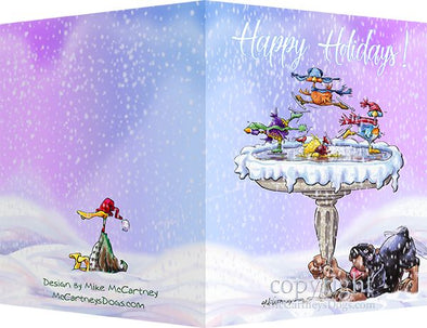 Rottweiler - Frozen Bird Bath - Christmas Card
