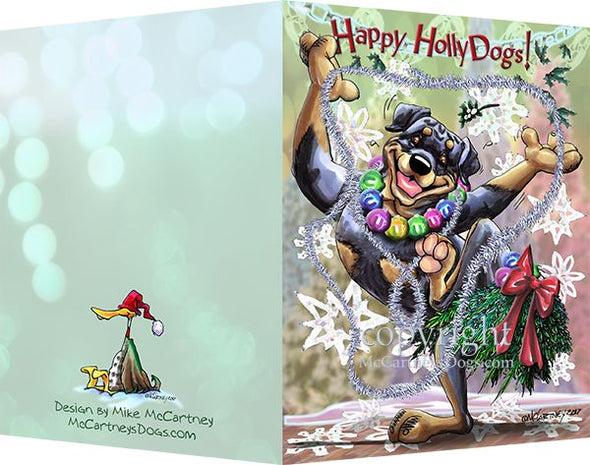 Rottweiler - Happy Holly Dog Pine Skirt - Christmas Card