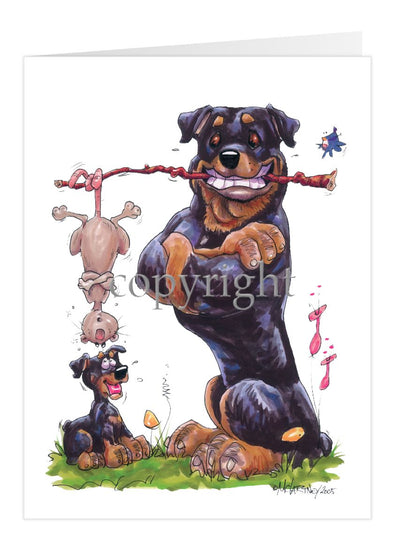 Rottweiler - Holding Branch Possum - Caricature - Card