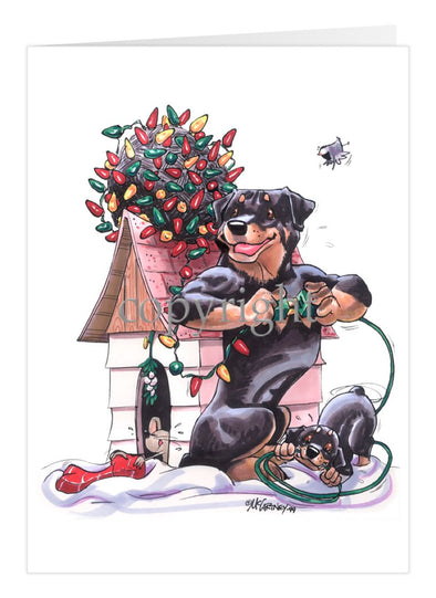 Rottweiler - Tangled Lights - Christmas Card