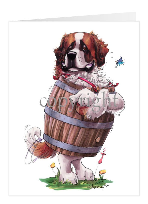 Saint Bernard - Standing In Barrel - Caricature - Card