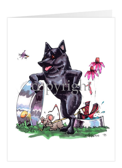 Schipperke - Standing With Dish - Caricature - Card