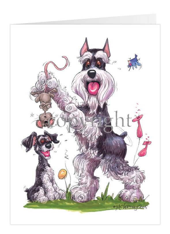 Schnauzer - Standing Holding Mouse - Caricature - Card