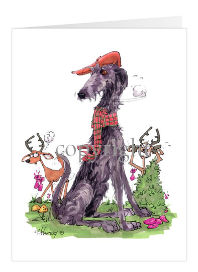 Scottish Deerhound - Hat Scarf Deer - Caricature - Card