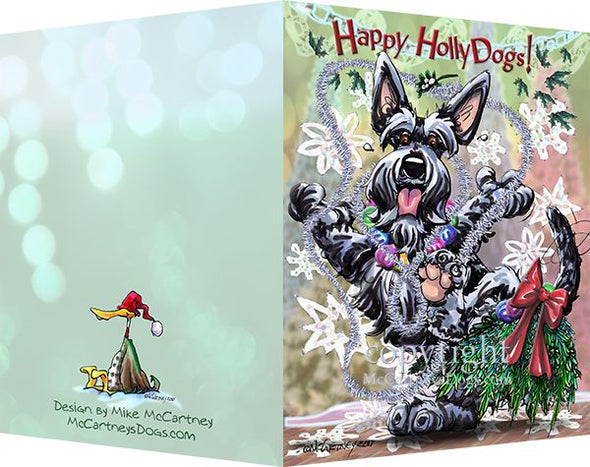Scottish Terrier - Happy Holly Dog Pine Skirt - Christmas Card