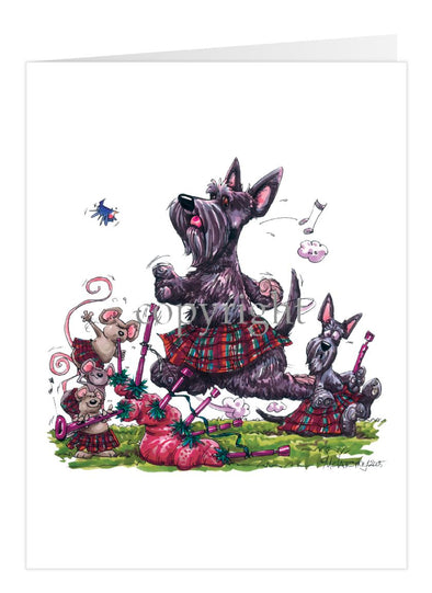 Scottish Terrier - Kilt - Caricature - Card
