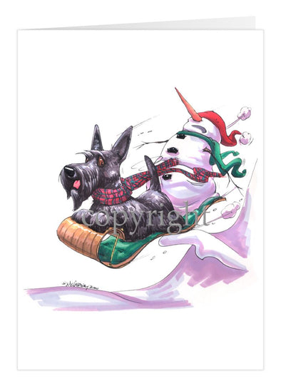 Scottish Terrier - Toboggan - Christmas Card