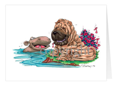 Shar Pei - Hippo Water - Caricature - Card