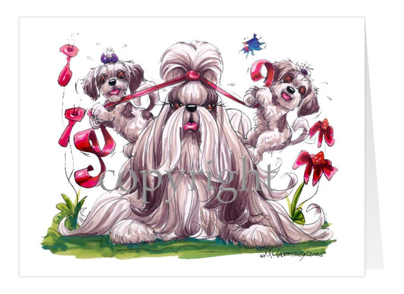 Shih Tzu - Puppies Pulling Ribbon - Caricature - Card
