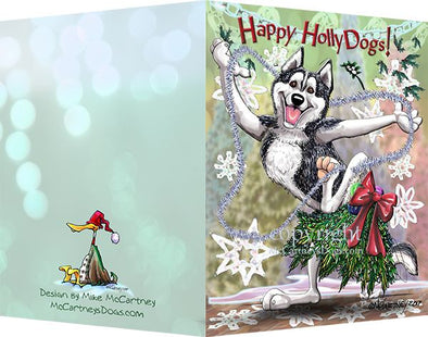 Siberian Husky - Happy Holly Dog Pine Skirt - Christmas Card