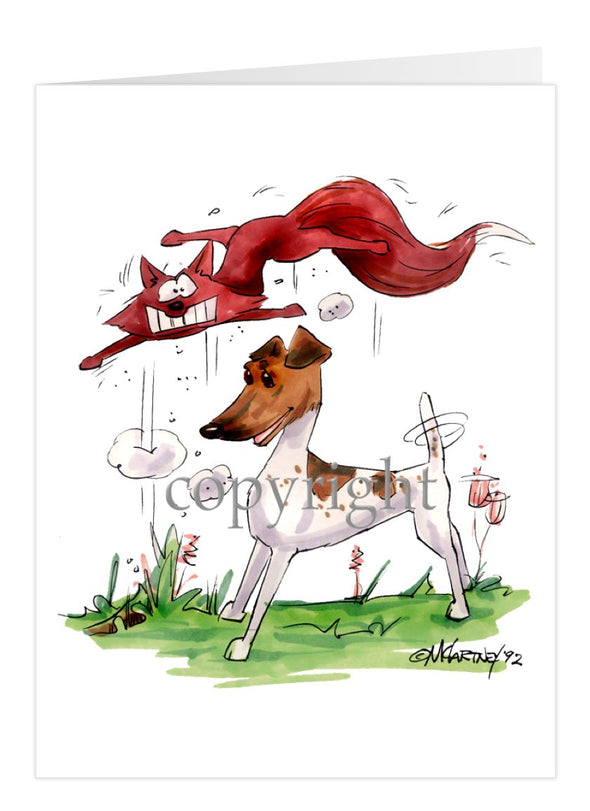 Smooth Fox Terrier - With Fox - Caricature - Card