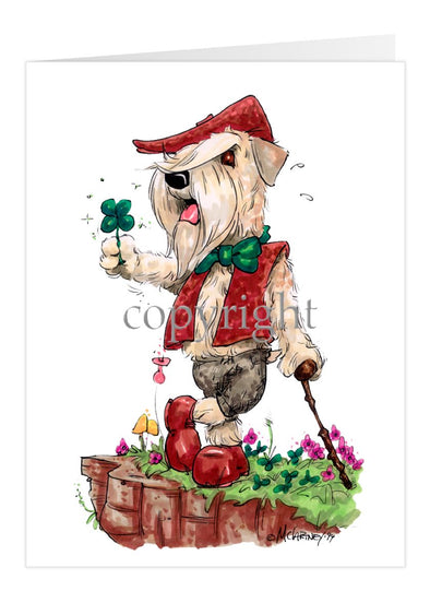 Soft Coated Wheaten - Brown Vest Shamrock - Caricature - Card