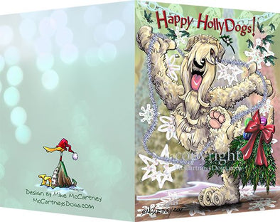 Soft Coated Wheaten - Happy Holly Dog Pine Skirt - Christmas Card
