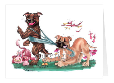 Staffordshire Bull Terrier - Group Tugging On Shirt - Caricature - Card