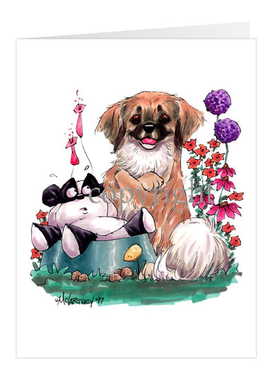 Tibetan Spaniel - Sitting With Toy Panda - Caricature - Card