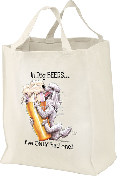Poodle  White - Dog Beers - Tote Bag