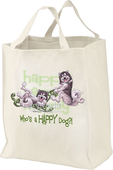 Alaskan Malamute - Who's A Happy Dog - Tote Bag