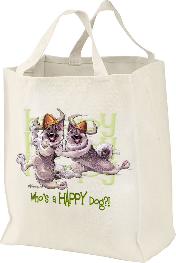 Norwegian Elkhound - Who's A Happy Dog - Tote Bag