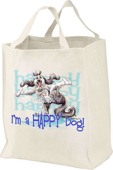 Bearded Collie - Who's A Happy Dog - Tote Bag