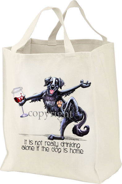 Flat Coated Retriever - It's Not Drinking Alone - Tote Bag