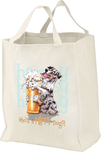 Australian Shepherd  Blue Merle - 2 - Who's A Happy Dog - Tote Bag