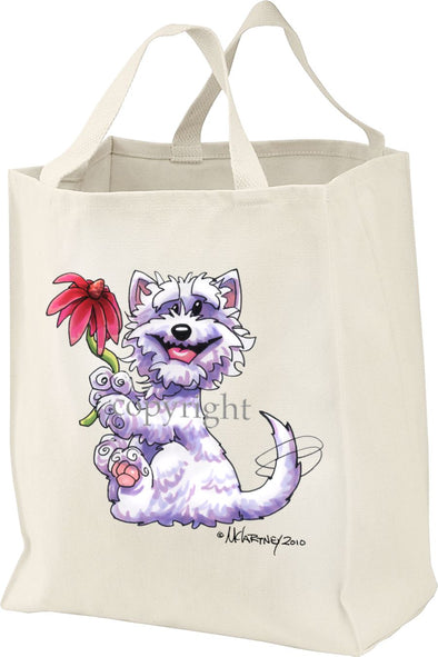 West Highland Terrier - Red Flower - Mike's Faves - Tote Bag
